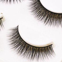 Wholesale Stems Hair - 3D 69# Pure Handmade False Eyelashes For Daily Nude Makeup Natural Long Crisscross 3d strip lashes Black Cotton Stem Fake eyelashes HOT