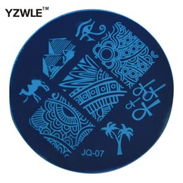 Wholesale Nail Art Stamping Stencils - Wholesale- YZWLE 1 Pcs Stamping Nail Art Image Plate, 5.6cm Stainless Steel Nail Stamping Plates Template Manicure Stencil Tools (JQ-07)