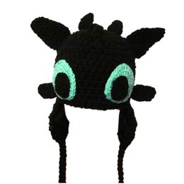 Wholesale Baby Dragon Hat - Novelty Character Toothless Hat,Handmade Knit Crochet Baby Boy Girl Night Fury Dragon Hat,Child Winter Cap,Infant Photo Prop
