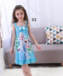 Wholesale Toddler Girls Lace Shirts - 2017 Arriva Toddler Girls Costume Frozen Elsa Anna Princess Pajamas Night Gown Shirt Dresses Baby Dress Princess Skirt Lace Flower Tutu Dre