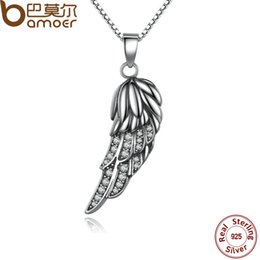 Wholesale Popular Feather Jewelry - BAMOER New Popular Hot 925 Sterling Silver Wing Pendant Necklace Feather Necklace for Women Fine Jewelry SCN027