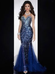 Wholesale Royal Blue Diamond Dresses - Mermaid Sweetheart Low Back Crystals Beaded Sequined Diamond Prom Gown Royal Blue Evening Dresses Women Evening Wear