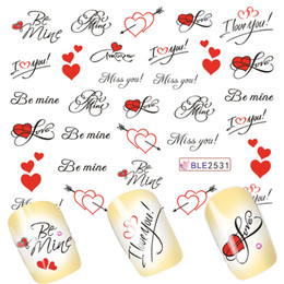 Wholesale Letter Nail Art Decals - Wholesale- 1Sheets Pretty Letter Miss You Printing Love Heart for Nails Tips Decor of Water Transfer Decals Nail Art Sticker BLE2531