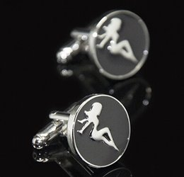 Wholesale Sexy Naked Men - 2016 New Fashion Round Cufflink sexy Lady Naked Girl Design Cuff Link Copper Material Promotion For Men Can Drop Shiping HD0239