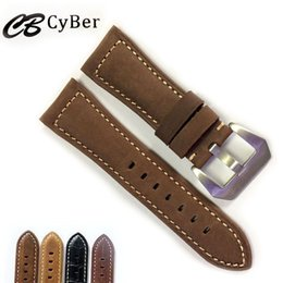 Wholesale Watch Tan Band - Cbcyber Watchbands 22mm 24mm 26mm Crazy horse leather Watch Strap watch with stainless steel Pin Buckle Accessories wristband for Panerai