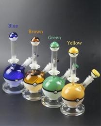 Wholesale hookah balls - 2017 Pokeball Bong Glass Water Pipes 10.5 inch Poke Ball Style Glass Rigs Dowenstem 14.4mm joint 4 Colors Pokeman Glass Water Hookahs