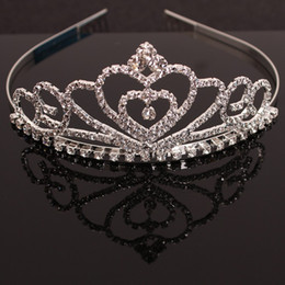 Wholesale Baby Crystal Crowns - Bride hair ornaments headdress girls princess children baby headdress hair ornaments crystal diamond crown hair comb wholesale free shipping