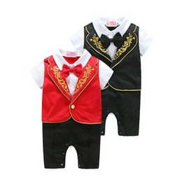 Wholesale Handsome Black Baby Boy - Soft Rompers for Baby Boy Cotton Bodysuit Newborn Jumpsuits Summer Breathable Gentleman Handsome Baby Boy Clothes