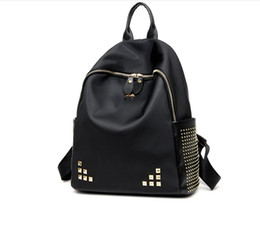 Wholesale Korean Fashion For Boys - Waterproof School Backpack Black With Rivet Decoration Waterproof for School Girl Material Oxford Cloth EU US Korean Fashion Style out139