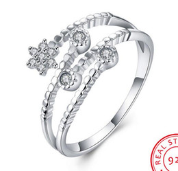 Wholesale Point Ring - Unique Five Pointed Star Shape 100% 925 Sterling Silver Ring Women Bridal Wedding Party Promise Ring Adjustable Jewelry