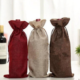 Wholesale Wine Bottles Gifts Covers - New Jute Wine Bags Champagne Wine Bottle Covers Gift Pouch burlap Packaging bag Wedding Party Decoration Wine Bags Drawstring cover fast
