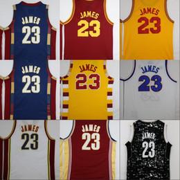 Wholesale Cheap Mesh Shirts - 2017 LeBron James Basketball Jerseys 23 LeBron James Throwback Rookie Retro Yellow Mesh Basketball Shirts James Stitched Jersey Mens Cheap
