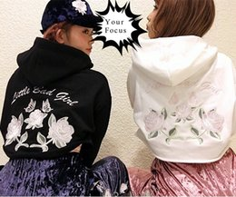 Wholesale K Pop Fashion - Wholesale- 2017 japanese harajuku punk gothic vintage k-pop one spo pink rose and little bad girl embroidery hoodies women cropped tops