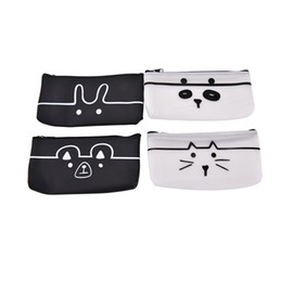 Wholesale Silicone Cosmetic Bag - Wholesale- Cartoon Animal Print Long Cosmetic Pouch Bag Silicone Waterproof Pencil Case Travel Toiletry Storage