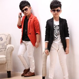 Wholesale Hot Clothing For Boys - classic kids jacket coat solid cotton blazer jacket for 2-12years boys children kids causal outerwear clothes hot