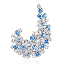 Wholesale Delicate Crystal Brooches - New Arrival Fashionable High End Delicate Blue Purple Color Crystal Brooch for Women and Girls by Hcish Jewelry AC145