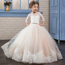 Wholesale Lace Rhinestone Prom Dress - 2017 Puffy Kids Prom Graduation Holy Communion Dresses Half Sleeves Long Pageant Ball Gown Dresses For Little Girls Glitz