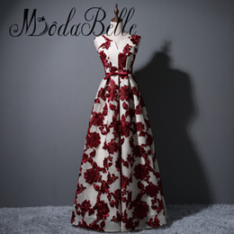 Wholesale cheap flower robes - Red Floral Evening Gown Abendkleider 2017 Lace Up Cheap Short Burgundy Prom Dresses Robe Longue Femme Soiree