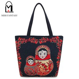 Wholesale Beach Doll - Wholesale- New Design Women's Canvas Tote Bag Female Casual Beach Bag Black Matryoshka Doll Large Daily Use Canvas Handbags School Bags