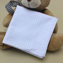 Wholesale Towel White Hands - Square Cotton Handkerchiefs White Table Plain Whitest Hankie Party Supplies Man Handkerchief Hand Towel Male Gentleman for Banquet Pure