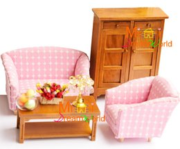 Wholesale White Wood Living Room Furniture - G05-X4416 children baby gift Toy 1:12 Dollhouse mini Furniture Miniature rement-pink and white living room Furniture 4pcs set