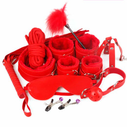 Wholesale Black Sexy Handcuffs - 7pcs set Restraint Cabala Leather Sex Games BDSM Sex Toys Slave game Sexy Womenizer Erotic Toys Handcuffs Gag Sex Toys for couples 3105003