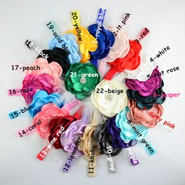 Wholesale Newborn Wholesale Feather Headbands - Newborn Baby Kids Feather Headbands Flower Rhinestone For Girls Elastic Headbands Girl Hair Accessories Infant Hairbands 22 Colors KHA464