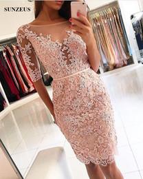 corset de robe de bal en taffetas Promotion Gaine longueur genou dentelle appliques robe de bal avec demi-manches Sparkle robes de soirée perlées courtes robes cortos de gala