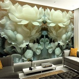 Wholesale Lotus Paper Wallpaper - Wholesale- Custom 3d mural wallpaper Chinese jade lotus 3D stereoscopic TV background wallpaper the living room bedroom 3d photo wallpaper