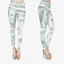Wholesale Dollar Leggings - Women Leggings Dollar 3D Graphic Print Lady Jeggings Skinny Stretchy Yoga Wear Pants Gym Fitness Casual Jeggings Soft Trousers New (J30510)