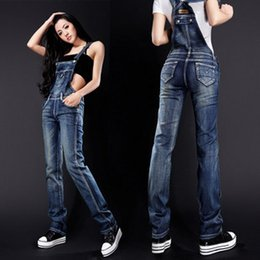 Wholesale Womens Bib Overalls Denim - Wholesale- New Arrival Womens Jumpsuit overalls Spaghetti Strap Body Pants Street Style Denim Bib Women Lady Jeans Rompers