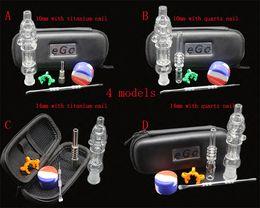 Wholesale Ego Smoke Free - 1pcs mini Nectar Collector kit with titanium or quartz nail clip wax tool silicon jar ego zipper case glass water bongs smoking pipes