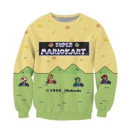 Wholesale Men Jumper Hoodie - Wholesale-Super Mario Kart Crewneck Sweatshirt the adorable Toad Princess Peach Luigi Character Sweats Women Men 3D Print Hoodies Jumper