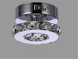 Wholesale Crystal Ring Ceiling Lights - Minimalist Single ring D17cm crystal ceiling lamp led aisle lights Stainless steel corridor home balcony dining room lighting