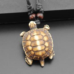 Wholesale Turtle Necklace Bone - 15 Style Fashion Ajustable Rope White Brown Tortoise turtle Necklace Pendant Unisex simulated-bone Vintage Jewelry