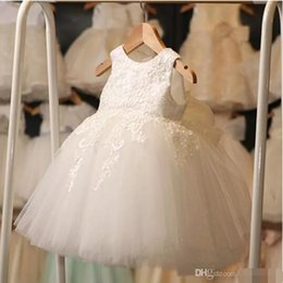 Wholesale Cheap Flower Girl Summer Dresses - 2017 Wholesale Princess Ball Gown Flower Girl Dresses Short Summer Appliqued Tulle Kids Party Wedding Formal Wear Gowns Cheap