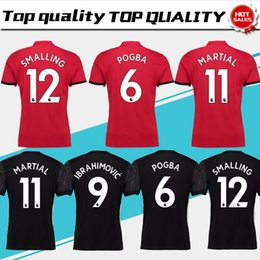 Wholesale Army Breathable - New #19 RASHFORD home red Soccer Jersey 17 18 #6 POGBA away black Soccer Shirt Customized #9 LUKAKU #11 MARTIAL football uniform Size S-4XL