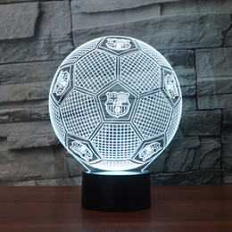 Wholesale Night Light Desk Lamp - Free Shipping 3D USB Novelty Lights FCB Football Club LED Touch Lamp Soccer Night Lights 3D Visual lights Desk Luminaria football Lamp