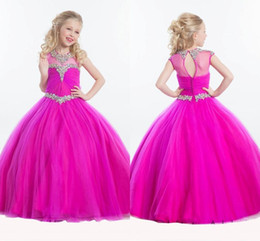 Wholesale Fuschia Color - 2017 Pretty Girls Pageant Gowns Crystal Beaded Jewel Rachel Allan Pageant Dress Fuschia Tulle Floor Length Flower Girls Dresses For Weddings