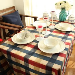 Wholesale Square Table Cloths - Europe Style Color Plaid table cloth Good Quality Dinning table cover Table decoration different size Family Favor Cotton Rectangular