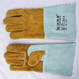 Wholesale Yellow Work Gloves - Cowhide Cotton Yellow&Light Green Welding Gloves High Temperature Wear-Resistant Work Labor Protection for Cutting, Welding and Moving Brick