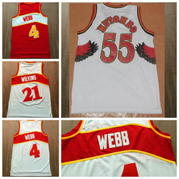 Wholesale Size 21 - Free Shipping Top quality #55 Dikembe Mutombo #21 Dominique Wilkins Red White #4 Spud Webb Throwback Shirt Size S,M,L,XL,XXL