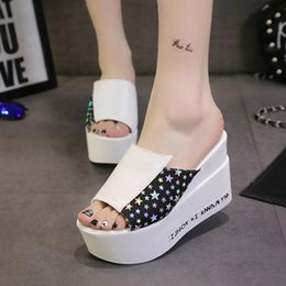 Wholesale Muffin Bands - Summer High-heeled Sandals Korean Muffin Fish Mouth Wedges Shoes Slippers Sandals 35-39