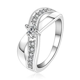 "Wholesale Ring X Shape - Wholesale 925 Jewelry Silver Plated Ring Fashion Crystal Jewelry Inlaid stone Cross Ring Cz Zirconia Ring ""X"" word shaped Women Accessories"