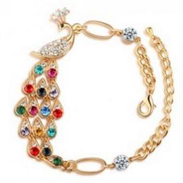 Wholesale Marketing Chain - Fashion Colorful Peacock Twinkle Rhinestone Phoenix Bracelet Yiwu Small Commodities Market Snap Jewelry Wholesale Bracelets