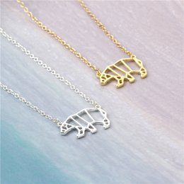 Wholesale Cute Unique Gifts - 2017 Newest Unique Origami Bear Animal Necklace Wholesale Hollow Walking Bear Origami Jewelry Cute Charm Animal Lovers Gift