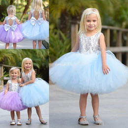 Wholesale Children Sequin Ruffled Shorts - Cute Short Baby Child Wedding Party Dress Puffy Tutu Lilac Mint Silver Sequins with Bow 2017 Cheap Flower Girls' Dresses Knee Length