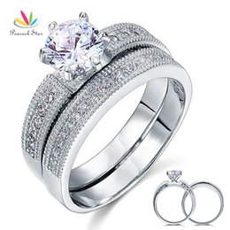 Wholesale Ct Style - Peacock Star Vintage Style 1.25 Ct Solitaire Created Diamond Sterling 925 Silver 2-Pc Wedding Engagement Ring Bridal Set CFR8096