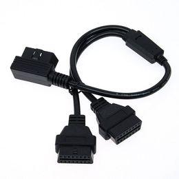 Carro obd usb on-line-16 Pin OBD2 Extensão Linha 1 a 2 Adaptador de Linha de 90 Graus de Cotovelo Fio L Estilo Adaptador de Interface de Cabo OBD uso Para todos os OBD 2 Carros