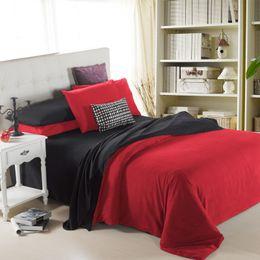 Wholesale Aqua Print Comforter - 4 Pieces Set red black Solid Bedding Sets Duvet Cover Flannel Home Textiles Warm Bedlinen 3D Reactive Printing Beds Sheet Set